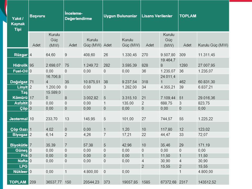Yakıt / Kaynak Tipi Başvuru İnceleme- Değerlendirme Uygun Bulunanlar Lisans VerilenlerTOPLAM Adet Kurulu Güç (MW)Adet Kurulu Güç (MW) Adet Kurulu Güç