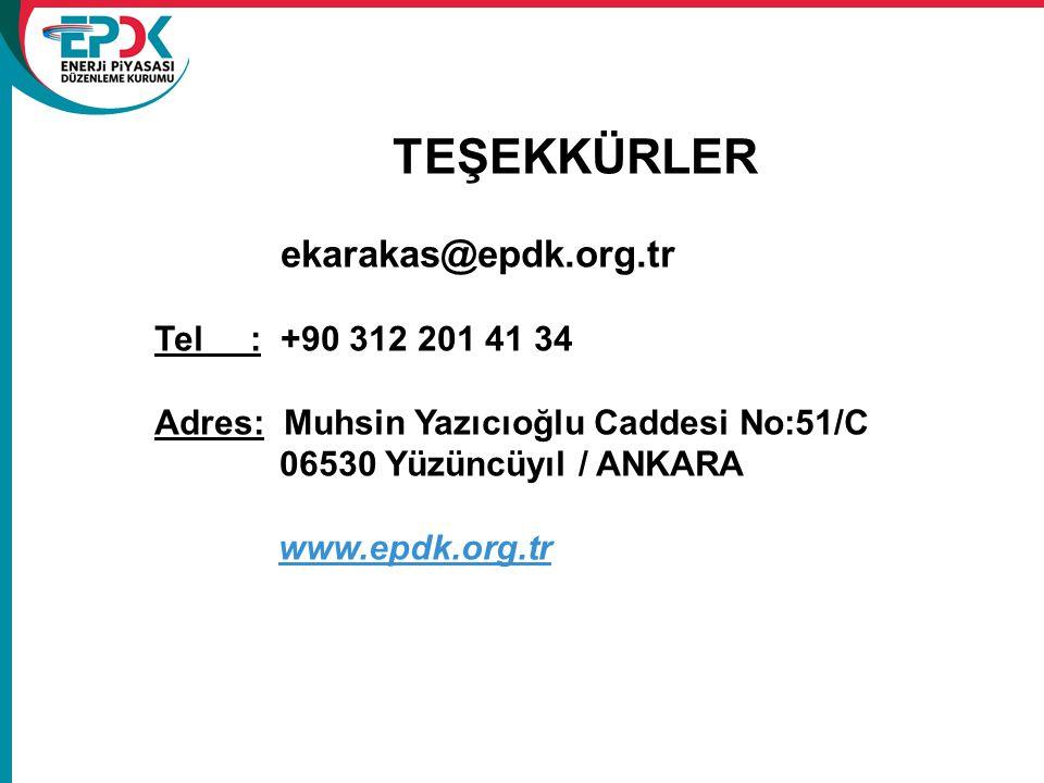 TEŞEKKÜRLER ekarakas@epdk.org.tr Tel : +90 312 201 41 34 Adres: Muhsin Yazıcıoğlu Caddesi No:51/C 06530 Yüzüncüyıl / ANKARA www.epdk.org.tr