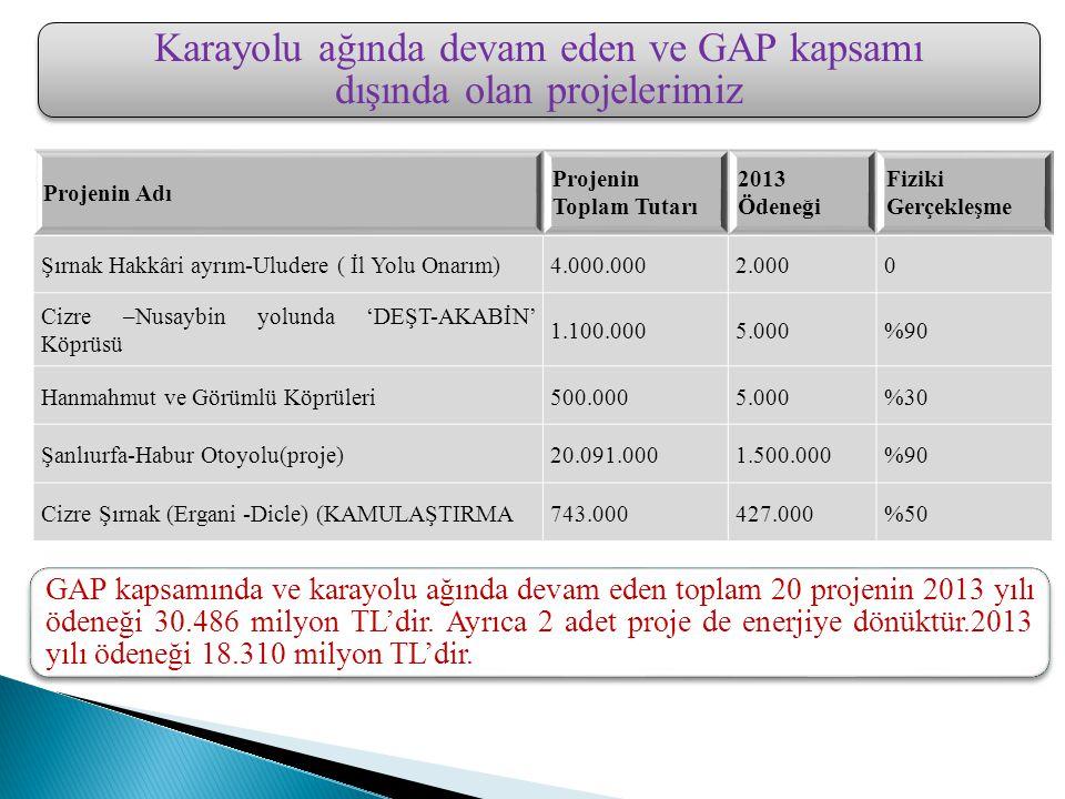Karayolu ağında devam eden ve GAP kapsamı dışında olan projelerimiz GAP kapsamında ve karayolu ağında devam eden toplam 20 projenin 2013 yılı ödeneği 30.486 milyon TL'dir.
