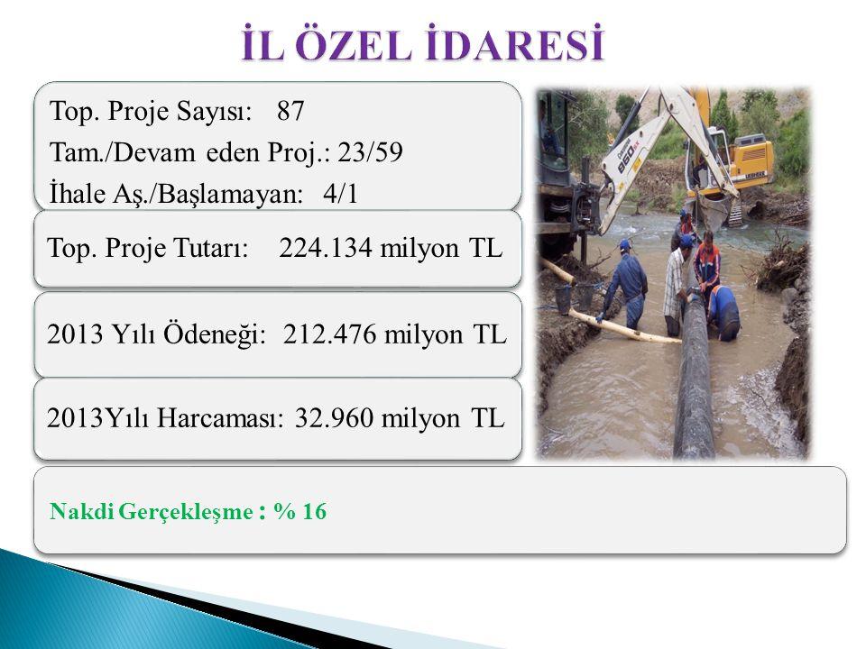 Nakdi Gerçekleşme : % 16 Top. Proje Sayısı: 87 Tam./Devam eden Proj.: 23/59 İhale Aş./Başlamayan: 4/1 Top. Proje Tutarı: 224.134 milyon TL 2013 Yılı Ö