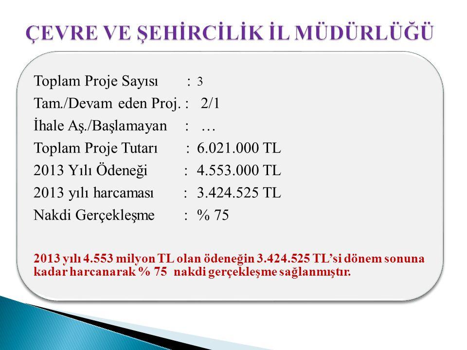 Toplam Proje Sayısı : 3 Tam./Devam eden Proj. : 2/1 İhale Aş./Başlamayan : … Toplam Proje Tutarı : 6.021.000 TL 2013 Yılı Ödeneği : 4.553.000 TL 2013