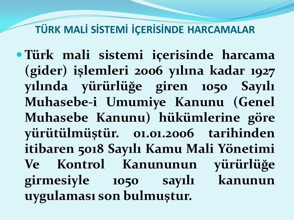 TÜRK MALİ SİSTEMİ İÇERİSİNDE HARCAMALAR  Türk mali sistemi içerisinde harcama (gider) işlemleri 2006 yılına kadar 1927 yılında yürürlüğe giren 1050 S