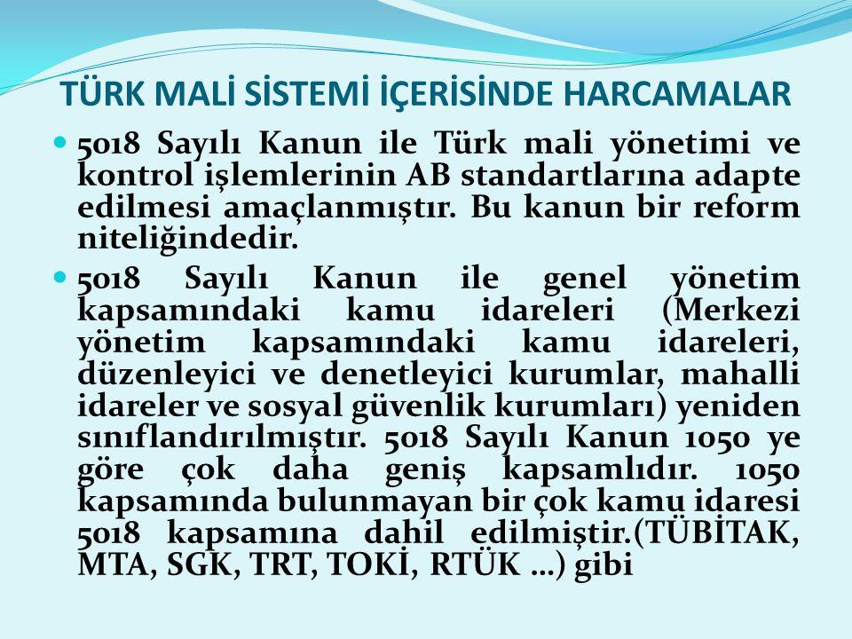 TÜRK MALİ SİSTEMİ İÇERİSİNDE HARCAMALAR  5018 Sayılı Kanun ile Türk mali yönetimi ve kontrol işlemlerinin AB standartlarına adapte edilmesi amaçlanmı