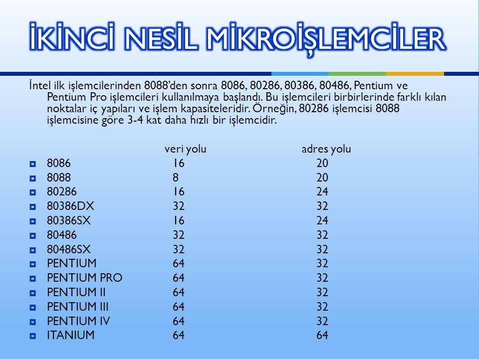 İ ntel ilk işlemcilerinden 8088'den sonra 8086, 80286, 80386, 80486, Pentium ve Pentium Pro işlemcileri kullanılmaya başlandı.