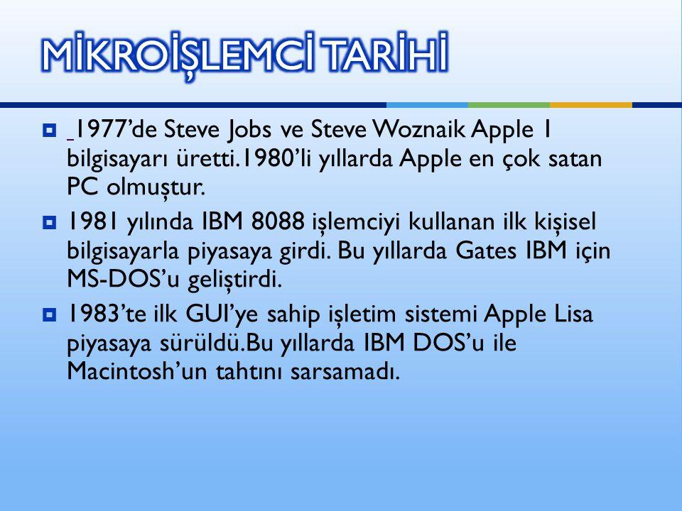  1977'de Steve Jobs ve Steve Woznaik Apple 1 bilgisayarı üretti.1980'li yıllarda Apple en çok satan PC olmuştur.  1981 yılında IBM 8088 işlemciyi ku