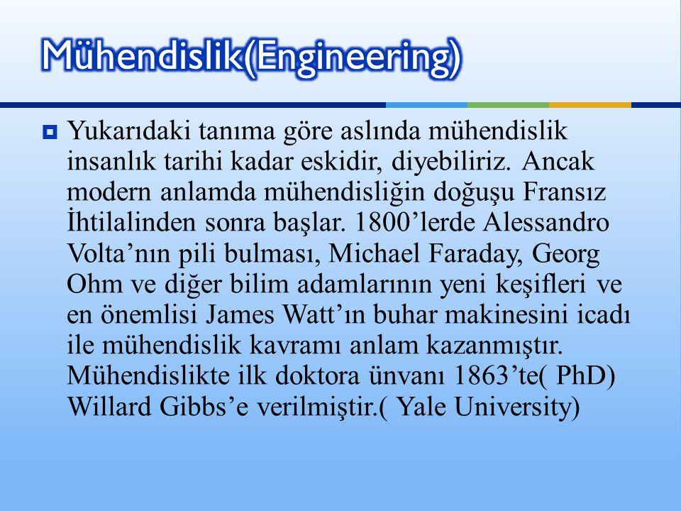  Yukarıdaki tanıma göre aslında mühendislik insanlık tarihi kadar eskidir, diyebiliriz. Ancak modern anlamda mühendisliğin doğuşu Fransız İhtilalinde