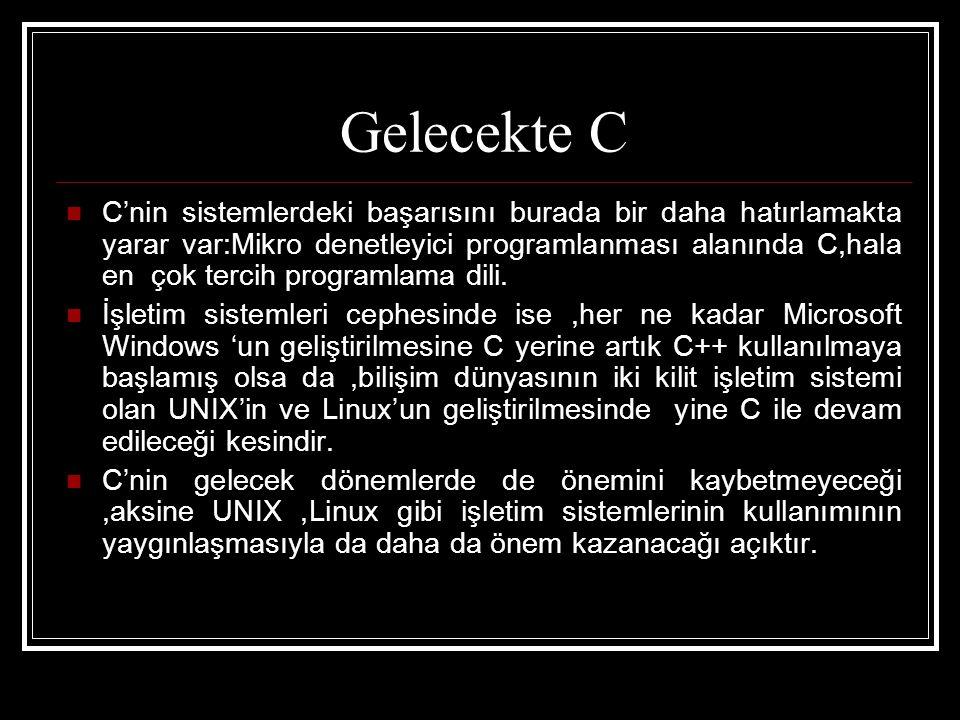 Gelecekte C  C'nin sistemlerdeki başarısını burada bir daha hatırlamakta yarar var:Mikro denetleyici programlanması alanında C,hala en çok tercih programlama dili.