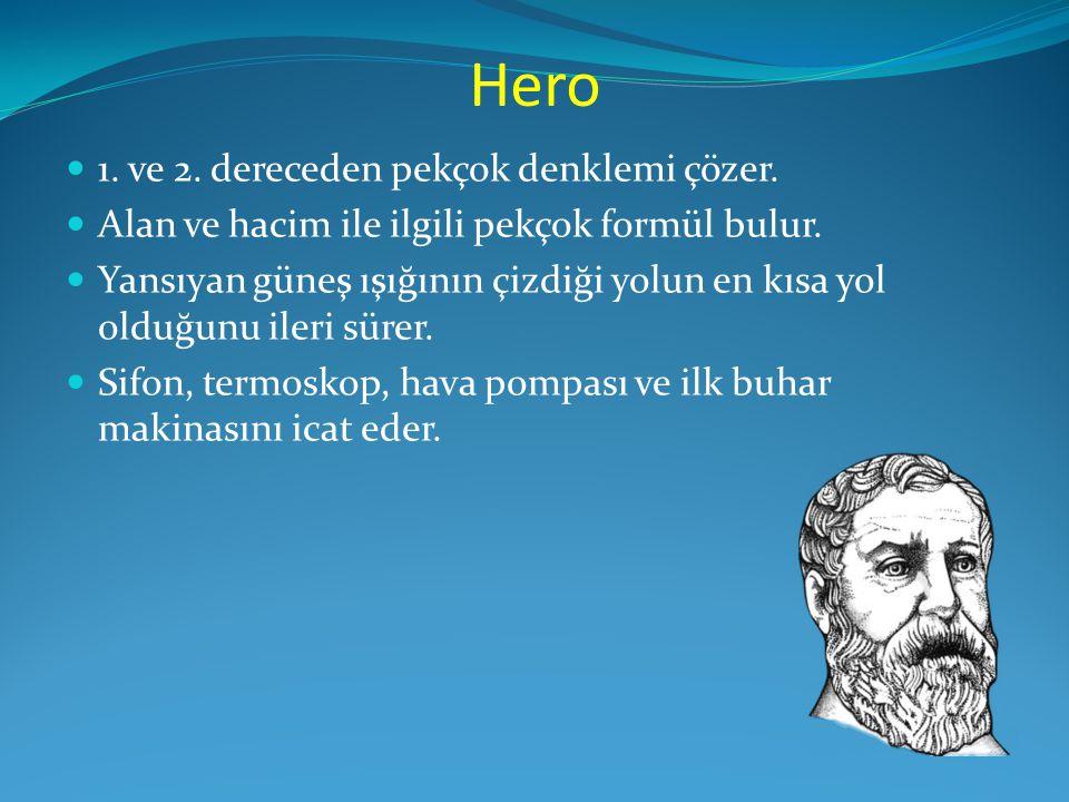 Hero  1. ve 2. dereceden pekçok denklemi çözer.  Alan ve hacim ile ilgili pekçok formül bulur.  Yansıyan güneş ışığının çizdiği yolun en kısa yol o
