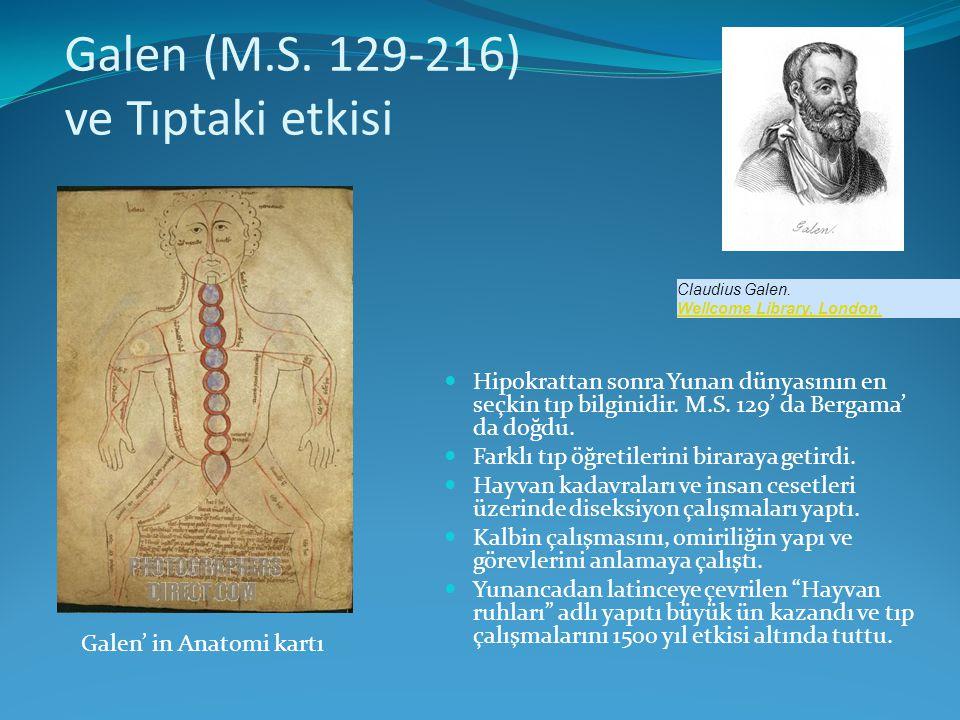 Galen (M.S. 129-216) ve Tıptaki etkisi  Hipokrattan sonra Yunan dünyasının en seçkin tıp bilginidir. M.S. 129' da Bergama' da doğdu.  Farklı tıp öğr