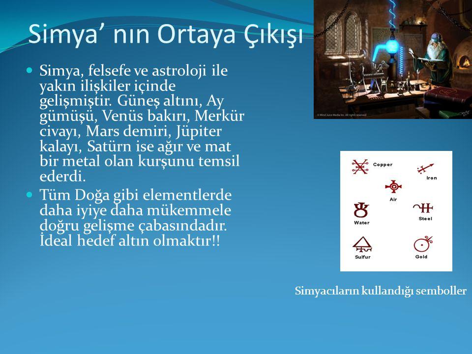 Simya' nın Ortaya Çıkışı  Simya, felsefe ve astroloji ile yakın ilişkiler içinde gelişmiştir. Güneş altını, Ay gümüşü, Venüs bakırı, Merkür civayı, M