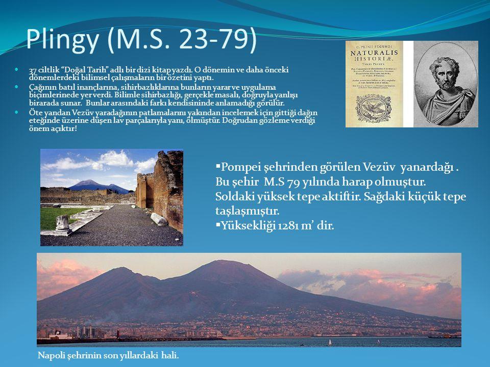 """Plingy (M.S. 23-79)  37 ciltlik """"Doğal Tarih"""" adlı bir dizi kitap yazdı. O dönemin ve daha önceki dönemlerdeki bilimsel çalışmaların bir özetini yapt"""