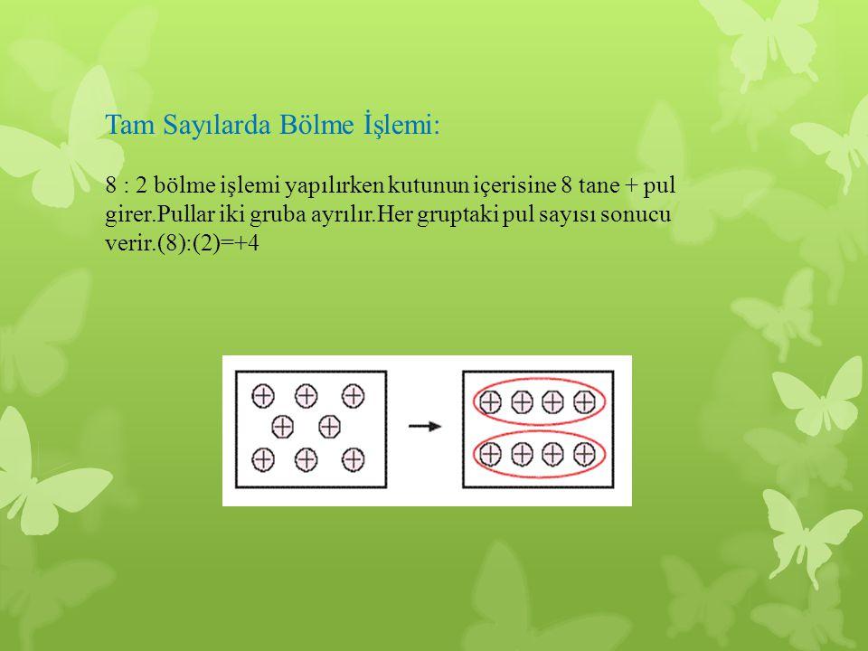 Tam Sayılarda Bölme İşlemi: 8 : 2 bölme işlemi yapılırken kutunun içerisine 8 tane + pul girer.Pullar iki gruba ayrılır.Her gruptaki pul sayısı sonucu verir.(8):(2)=+4