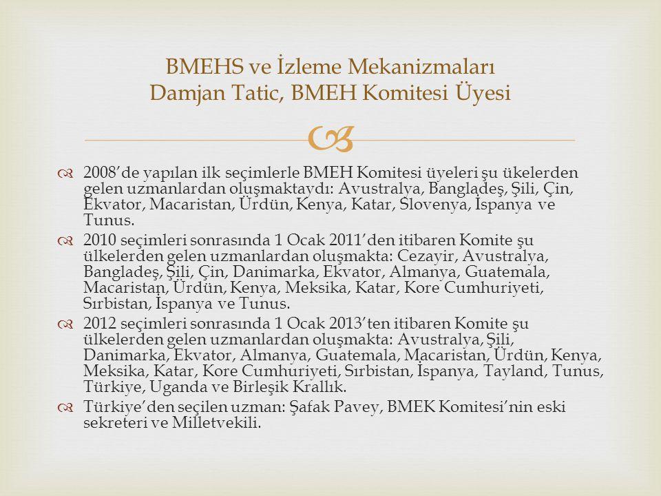   2008'de yapılan ilk seçimlerle BMEH Komitesi üyeleri şu ükelerden gelen uzmanlardan oluşmaktaydı: Avustralya, Bangladeş, Şili, Çin, Ekvator, Macar
