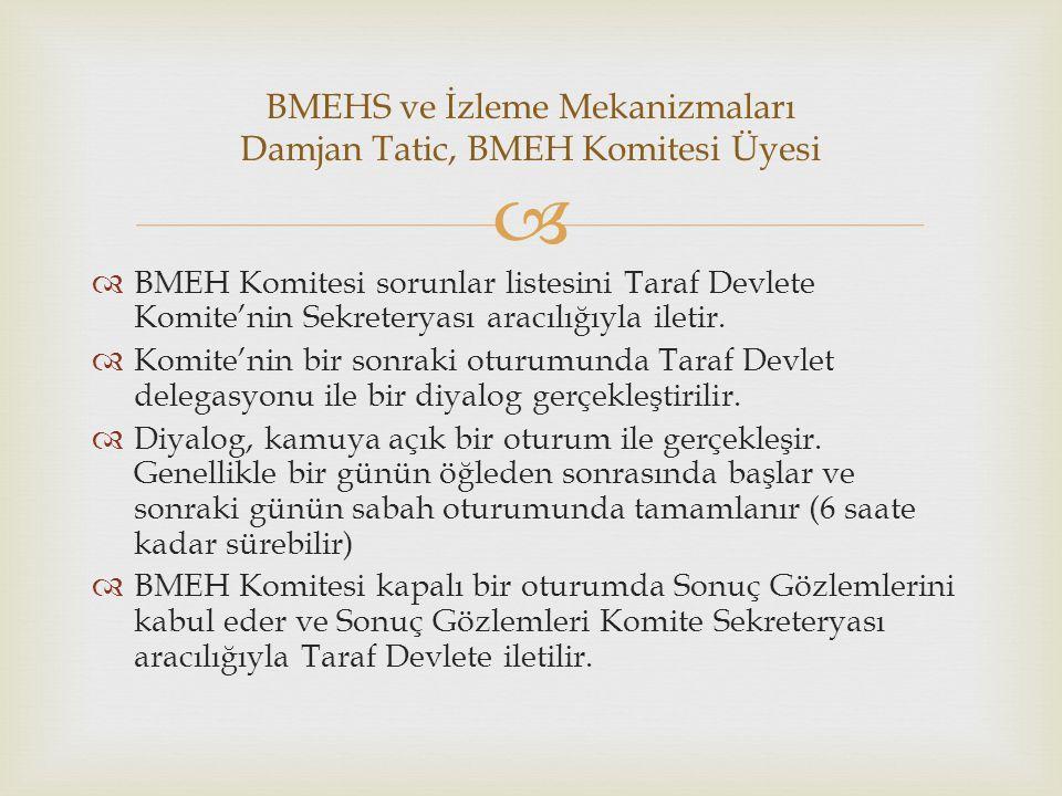   BMEH Komitesi sorunlar listesini Taraf Devlete Komite'nin Sekreteryası aracılığıyla iletir.  Komite'nin bir sonraki oturumunda Taraf Devlet deleg
