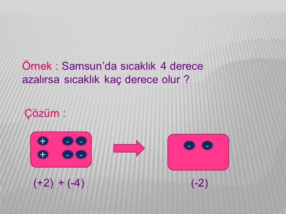 Örnek : Samsun'da sıcaklık 4 derece azalırsa sıcaklık kaç derece olur ? Çözüm : -- -- + + -- (+2)(-4)(-2)+