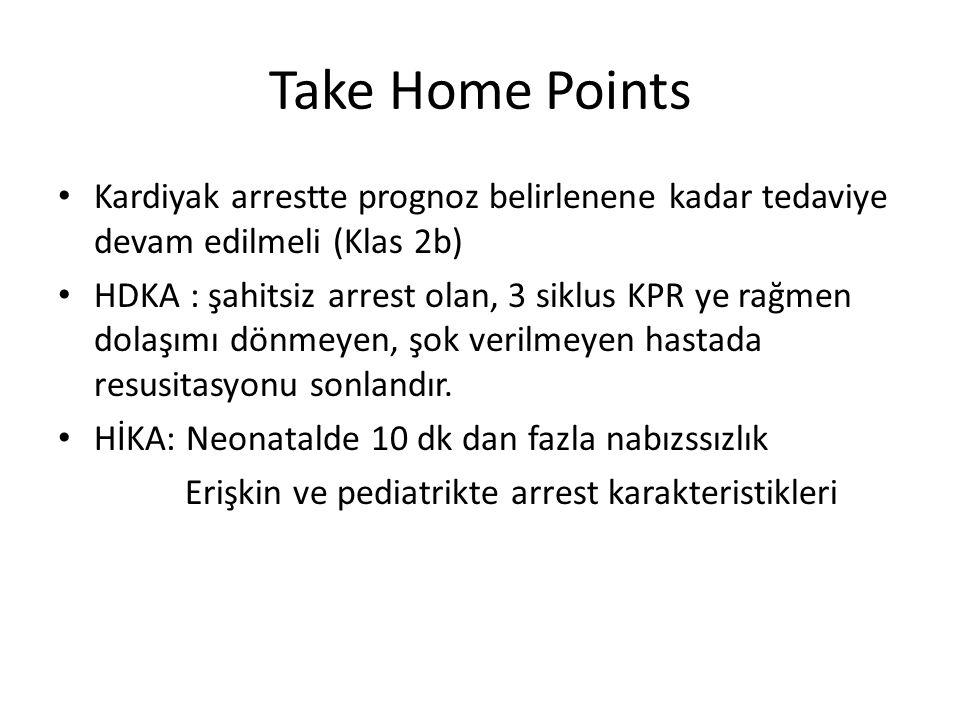 Take Home Points • Kardiyak arrestte prognoz belirlenene kadar tedaviye devam edilmeli (Klas 2b) • HDKA : şahitsiz arrest olan, 3 siklus KPR ye rağmen dolaşımı dönmeyen, şok verilmeyen hastada resusitasyonu sonlandır.