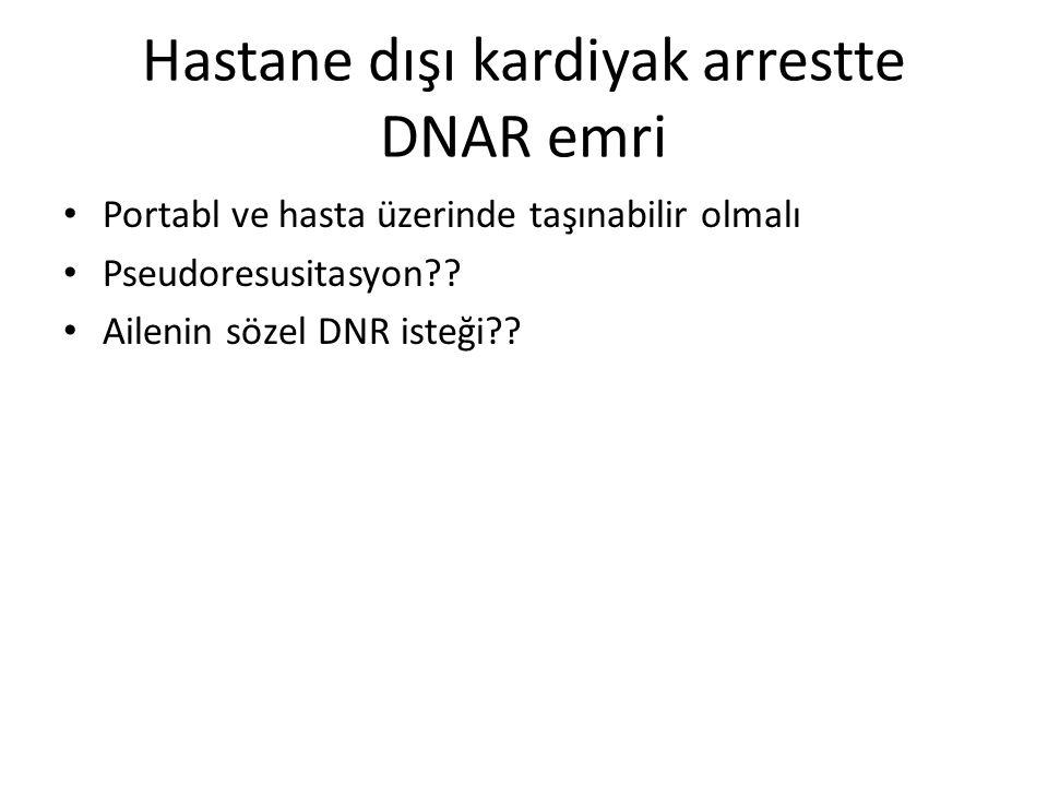 Hastane dışı kardiyak arrestte DNAR emri • Portabl ve hasta üzerinde taşınabilir olmalı • Pseudoresusitasyon?.