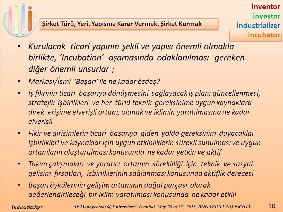 inventor investor industrializer incubator IP Management @ Universities Istanbul, May 23 to 25, 2013, BOGAZICI UNIVERSITY 10 Indusrtializer Şirket Türü, Yeri, Yapısına Karar Vermek, Şirket Kurmak • Kurulacak ticari yapının şekli ve yapısı önemli olmakla birlikte, 'Incubation' aşamasında odaklanılması gereken diğer önemli unsurlar ; • Markası/İsmi 'Başarı' ile ne kadar özdeş.
