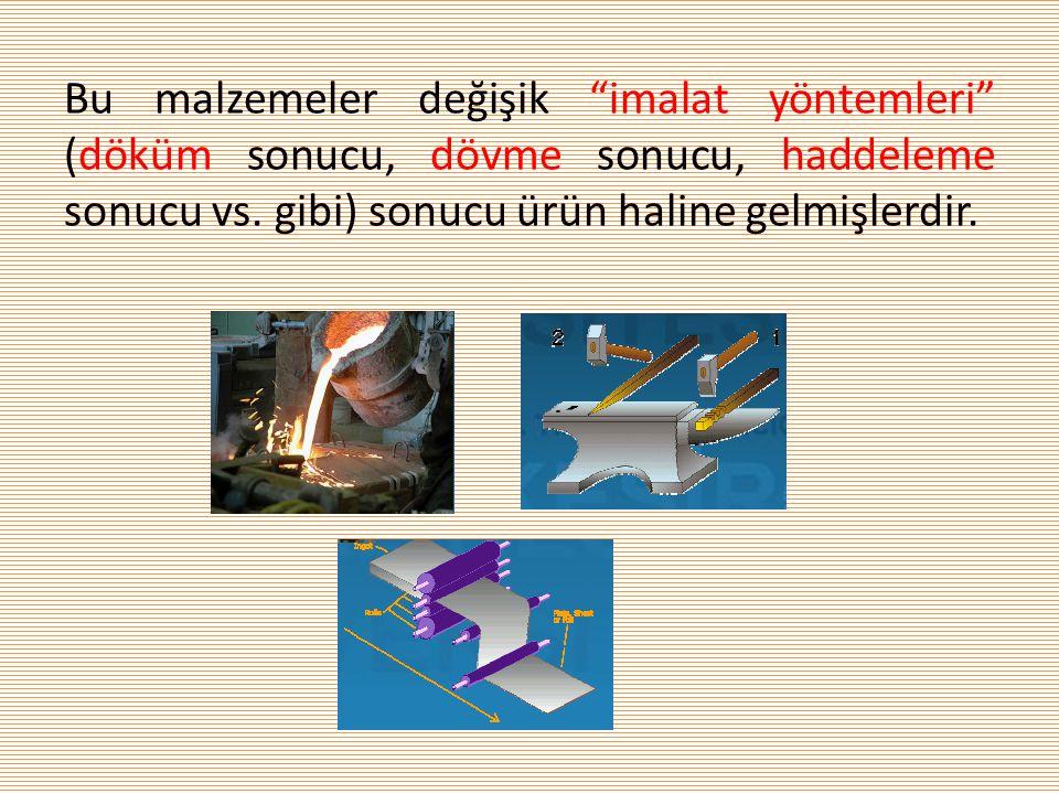 """Bu malzemeler değişik """"imalat yöntemleri"""" (döküm sonucu, dövme sonucu, haddeleme sonucu vs. gibi) sonucu ürün haline gelmişlerdir."""