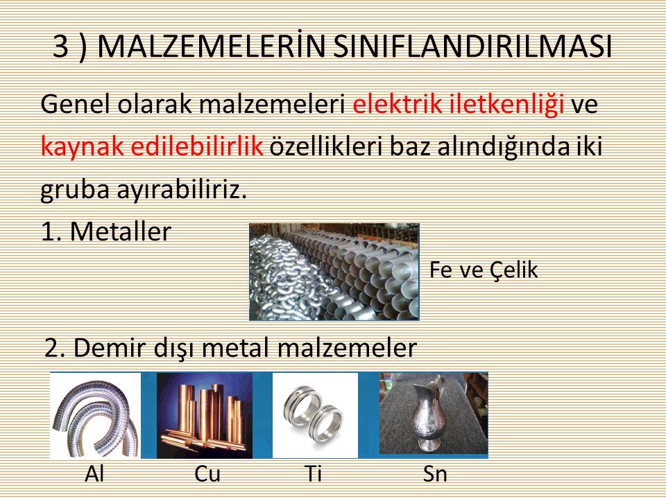 3 ) MALZEMELERİN SINIFLANDIRILMASI Genel olarak malzemeleri elektrik iletkenliği ve kaynak edilebilirlik özellikleri baz alındığında iki gruba ayırabi
