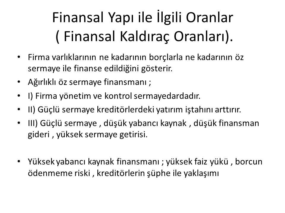 Finansal Yapı ile İlgili Oranlar ( Finansal Kaldıraç Oranları). • Firma varlıklarının ne kadarının borçlarla ne kadarının öz sermaye ile finanse edild