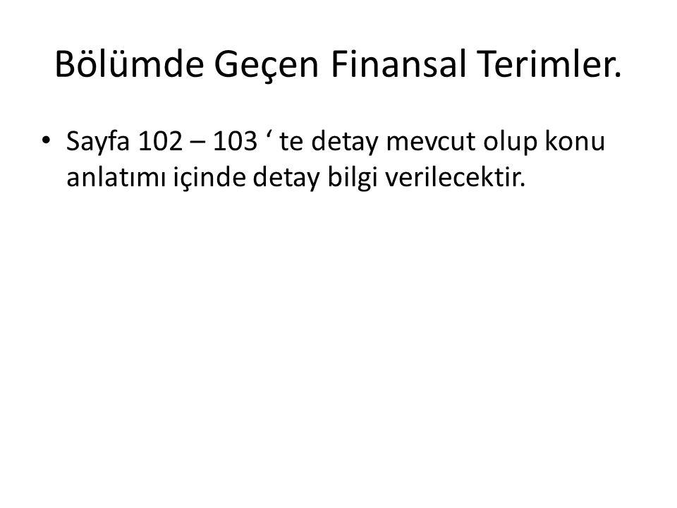 Bölümde Geçen Finansal Terimler. • Sayfa 102 – 103 ' te detay mevcut olup konu anlatımı içinde detay bilgi verilecektir.