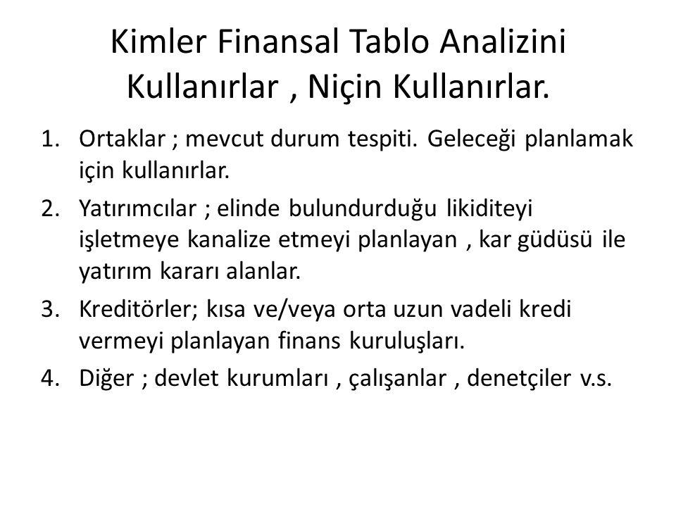 Kimler Finansal Tablo Analizini Kullanırlar, Niçin Kullanırlar. 1.Ortaklar ; mevcut durum tespiti. Geleceği planlamak için kullanırlar. 2.Yatırımcılar