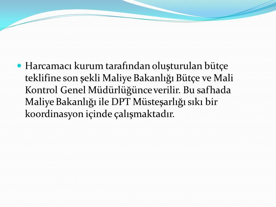  Harcamacı kurum tarafından oluşturulan bütçe teklifine son şekli Maliye Bakanlığı Bütçe ve Mali Kontrol Genel Müdürlüğünce verilir. Bu safhada Maliy