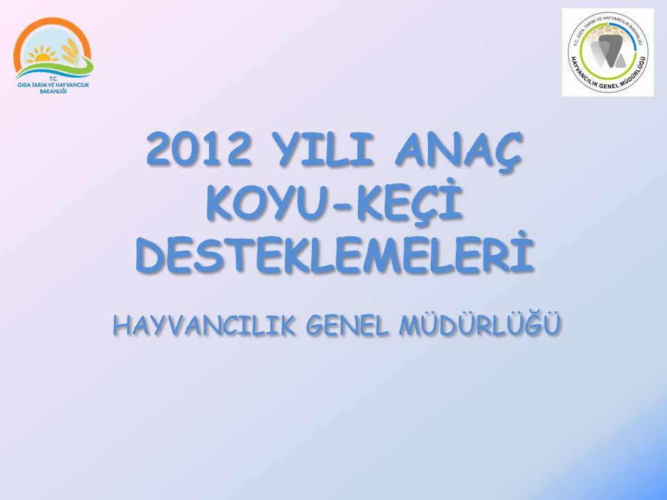 2012 YILI ANAÇ KOYU-KEÇİ DESTEKLEMELERİ HAYVANCILIK GENEL MÜDÜRLÜĞÜ