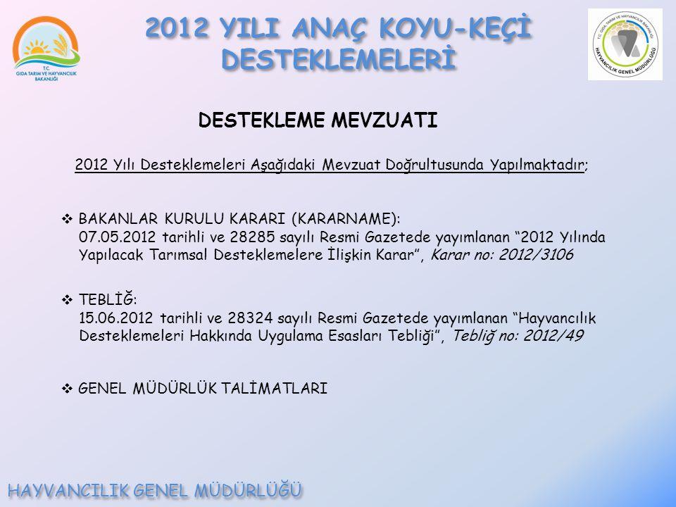2012 YILI ANAÇ KOYU-KEÇİ DESTEKLEMELERİ HAYVANCILIK GENEL MÜDÜRLÜĞÜ DESTEKLEME MEVZUATI 2012 Yılı Desteklemeleri Aşağıdaki Mevzuat Doğrultusunda Yapılmaktadır;  BAKANLAR KURULU KARARI (KARARNAME): 07.05.2012 tarihli ve 28285 sayılı Resmi Gazetede yayımlanan 2012 Yılında Yapılacak Tarımsal Desteklemelere İlişkin Karar , Karar no: 2012/3106  TEBLİĞ: 15.06.2012 tarihli ve 28324 sayılı Resmi Gazetede yayımlanan Hayvancılık Desteklemeleri Hakkında Uygulama Esasları Tebliği , Tebliğ no: 2012/49  GENEL MÜDÜRLÜK TALİMATLARI