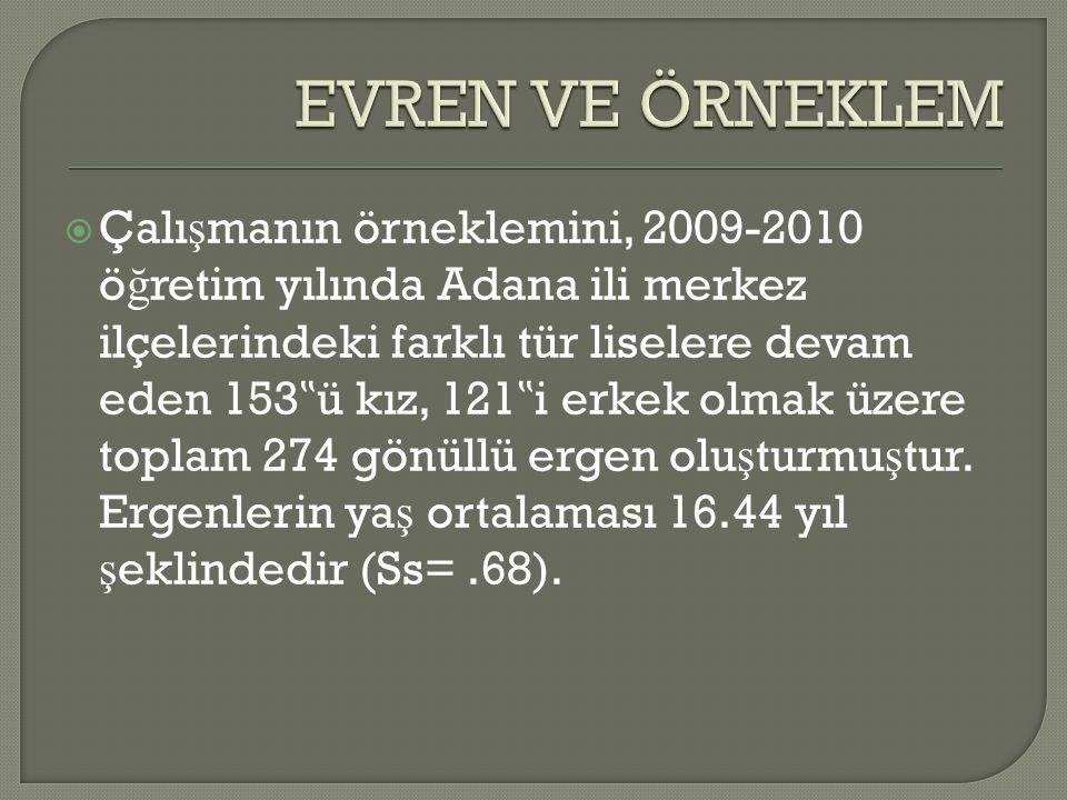 """ Çalı ş manın örneklemini, 2009-2010 ö ğ retim yılında Adana ili merkez ilçelerindeki farklı tür liselere devam eden 153 """" ü kız, 121 """" i erkek olmak"""