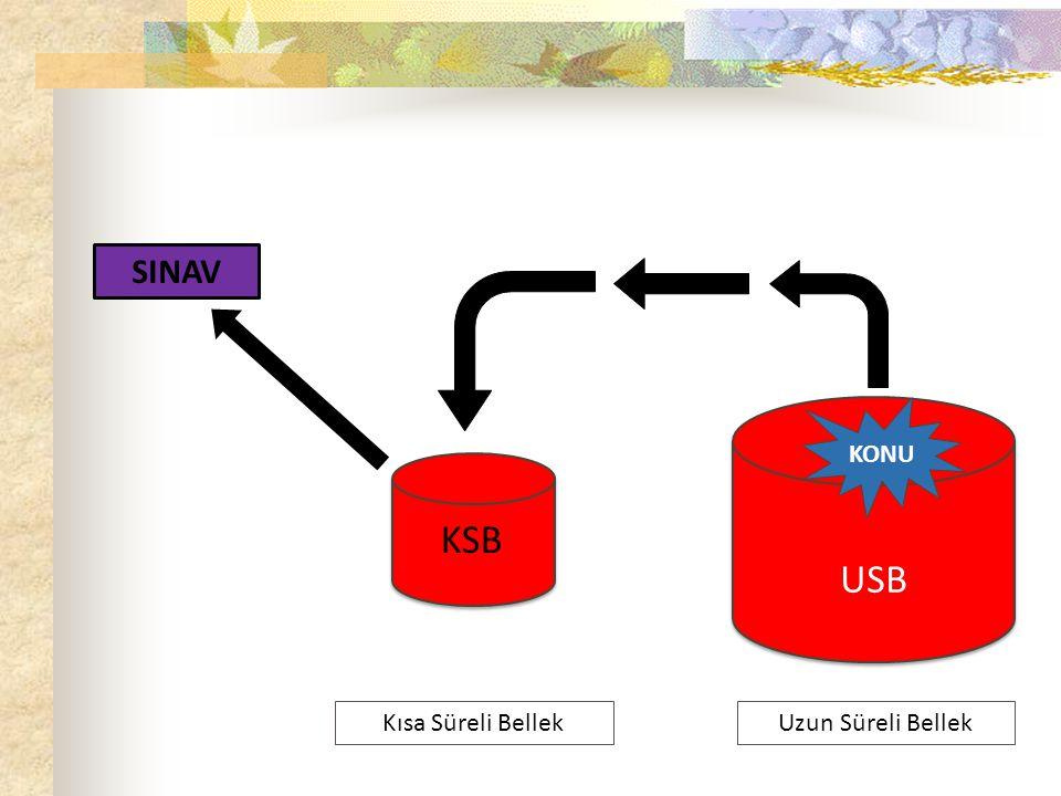 SINAVDA Uzun Süreli Bellek KSB USB Kısa Süreli Bellek Panik Stres Kaygı KONU SINAV