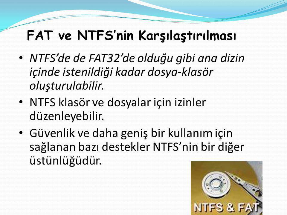 FAT ve NTFS'nin Karşılaştırılması • NTFS'de de FAT32'de olduğu gibi ana dizin içinde istenildiği kadar dosya-klasör oluşturulabilir.