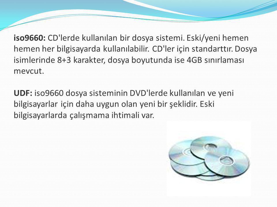 iso9660: CD lerde kullanılan bir dosya sistemi.