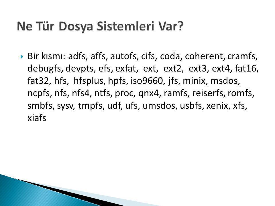  Bir kısmı: adfs, affs, autofs, cifs, coda, coherent, cramfs, debugfs, devpts, efs, exfat, ext, ext2, ext3, ext4, fat16, fat32, hfs, hfsplus, hpfs, iso9660, jfs, minix, msdos, ncpfs, nfs, nfs4, ntfs, proc, qnx4, ramfs, reiserfs, romfs, smbfs, sysv, tmpfs, udf, ufs, umsdos, usbfs, xenix, xfs, xiafs