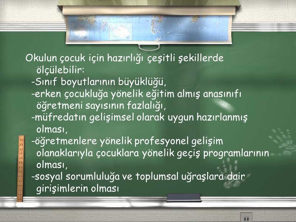Okulun çocuk için hazırlığı çeşitli şekillerde ölçülebilir: -Sınıf boyutlarının büyüklüğü, -erken çocukluğa yönelik eğitim almış anasınıfı öğretmeni s