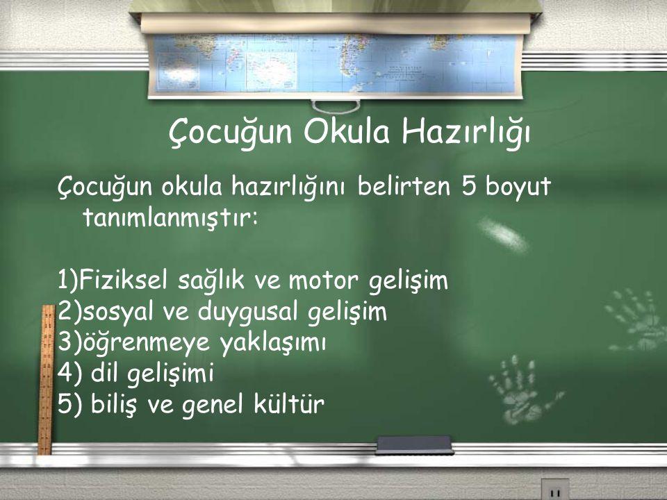 Çocuğun Okula Hazırlığı Çocuğun okula hazırlığını belirten 5 boyut tanımlanmıştır: 1)Fiziksel sağlık ve motor gelişim 2)sosyal ve duygusal gelişim 3)ö