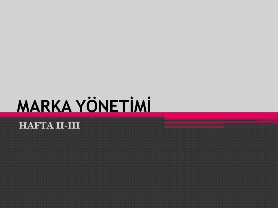 MARKA YÖNETİMİ HAFTA II-III