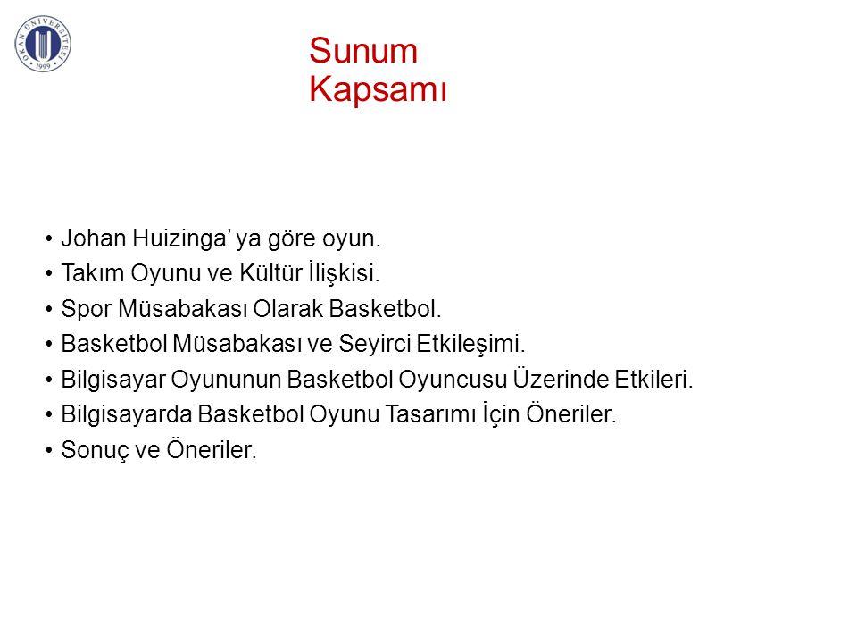 Sunum Kapsamı •Johan Huizinga' ya göre oyun. •Takım Oyunu ve Kültür İlişkisi. •Spor Müsabakası Olarak Basketbol. •Basketbol Müsabakası ve Seyirci Etki