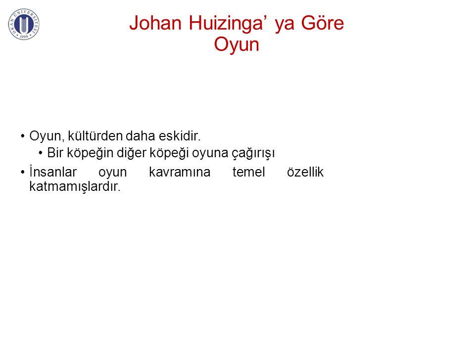 Johan Huizinga' ya Göre Oyun •Oyun, kültürden daha eskidir. •Bir köpeğin diğer köpeği oyuna çağırışı •İnsanlar oyun kavramına temel özellik katmamışla