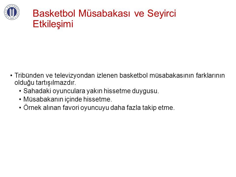 Basketbol Müsabakası ve Seyirci Etkileşimi •Tribünden ve televizyondan izlenen basketbol müsabakasının farklarının olduğu tartışılmazdır. •Sahadaki oy