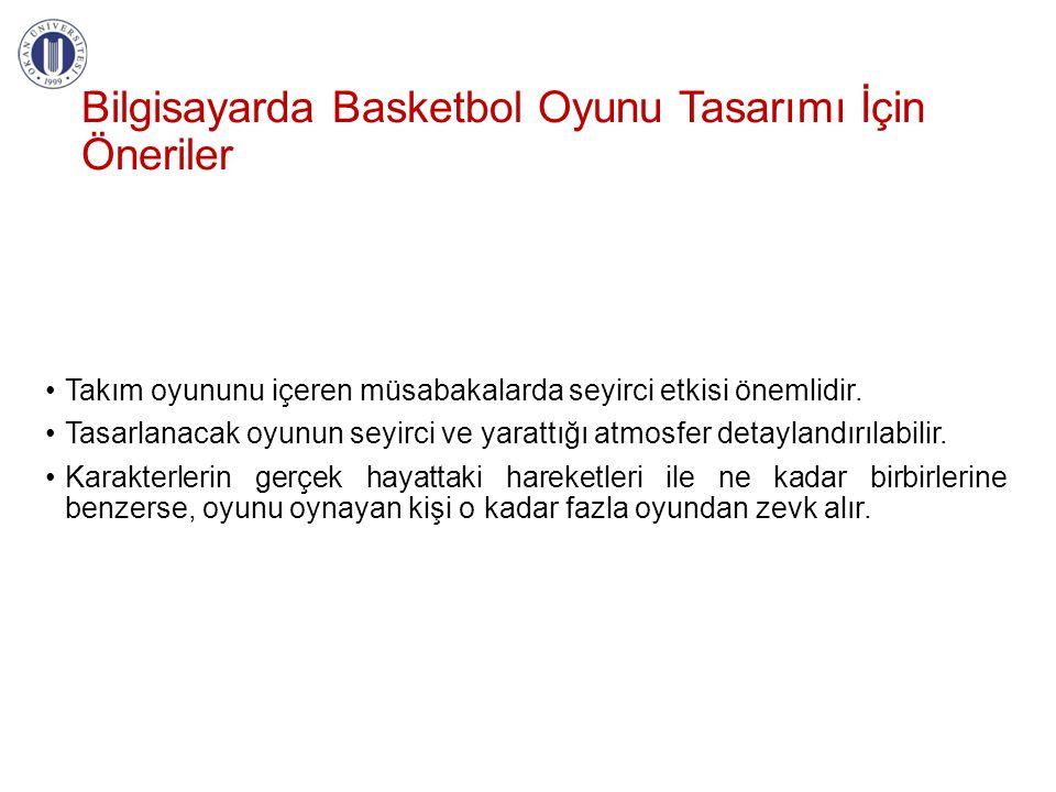 Bilgisayarda Basketbol Oyunu Tasarımı İçin Öneriler •Takım oyununu içeren müsabakalarda seyirci etkisi önemlidir. •Tasarlanacak oyunun seyirci ve yara