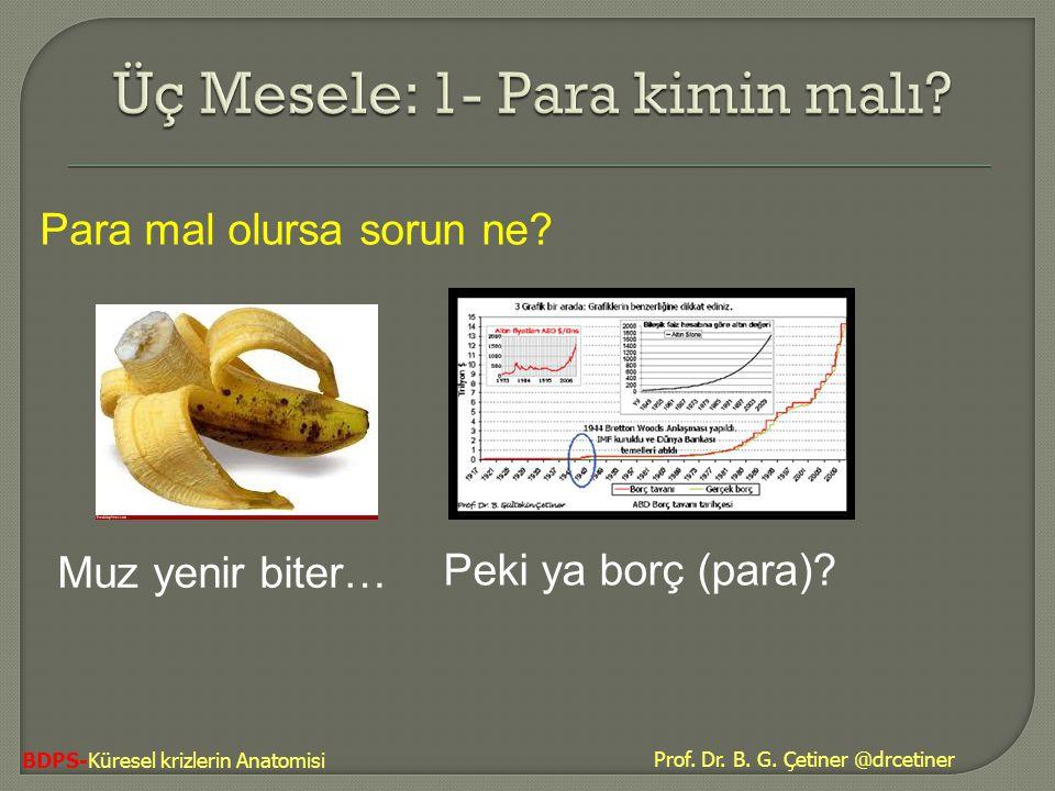 Prof. Dr. B. G. Çetiner @drcetiner BDPS-Küresel krizlerin Anatomisi Para mal olursa sorun ne? Muz yenir biter… Peki ya borç (para)?