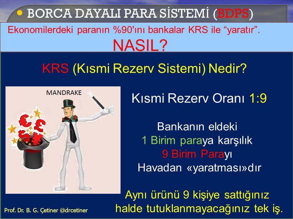 """• BORCA DAYALI PARA S İ STEM İ (BDPS) Ekonomilerdeki paranın %90'ını bankalar KRS ile """"yaratır"""". NASIL? KRS (Kısmi Rezerv Sistemi) Nedir? Kısmi Rezerv"""