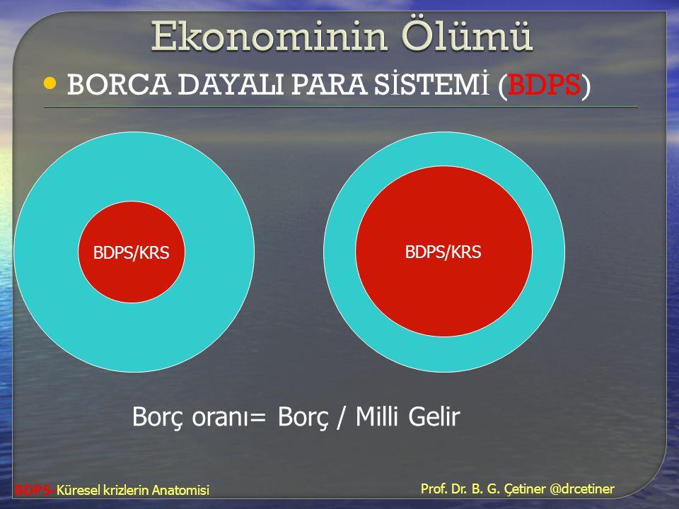 • BORCA DAYALI PARA S İ STEM İ (BDPS) BDPS/KRS Borç oranı= Borç / Milli Gelir BDPS-Küresel krizlerin Anatomisi Prof. Dr. B. G. Çetiner @drcetiner