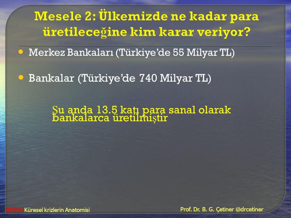 • Bankalar (Türkiye'de 740 Milyar TL) Ş u anda 13.5 katı para sanal olarak bankalarca üretilmi ş tir • Merkez Bankaları (Türkiye'de 55 Milyar TL) Prof