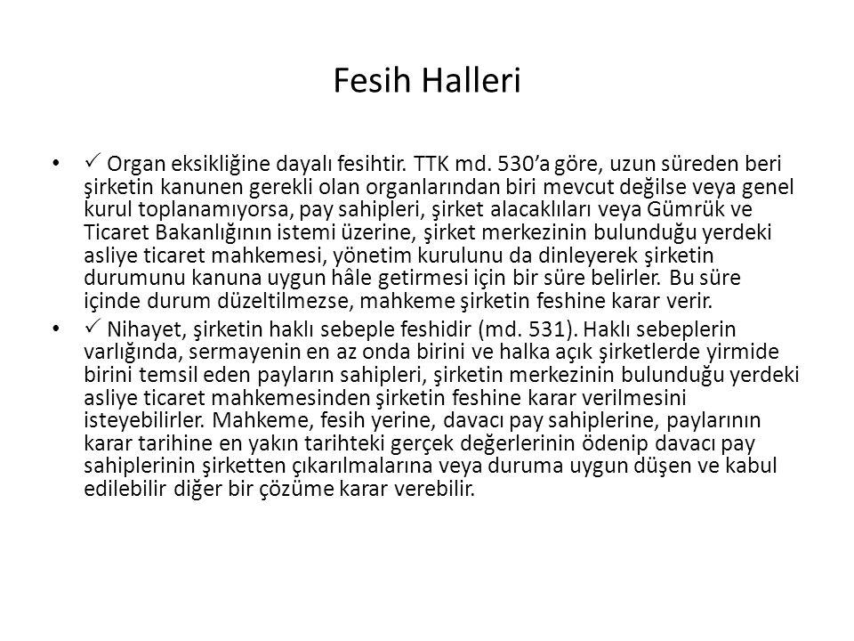 Fesih Halleri •  Organ eksikliğine dayalı fesihtir. TTK md. 530'a göre, uzun süreden beri şirketin kanunen gerekli olan organlarından biri mevcut değ
