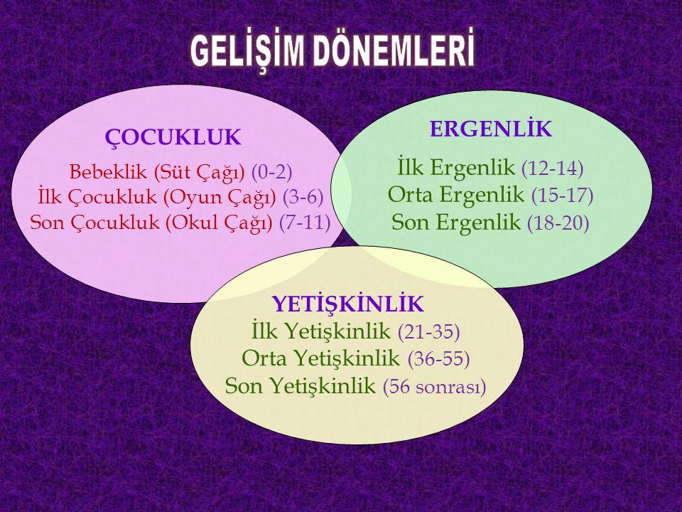 ÇOCUKLUK Bebeklik (Süt Çağı) (0-2) İlk Çocukluk (Oyun Çağı) (3-6) Son Çocukluk (Okul Çağı) (7-11) ERGENLİK İlk Ergenlik (12-14) Orta Ergenlik (15-17) Son Ergenlik (18-20) YETİŞKİNLİK İlk Yetişkinlik (21-35) Orta Yetişkinlik (36-55) Son Yetişkinlik (56 sonrası)