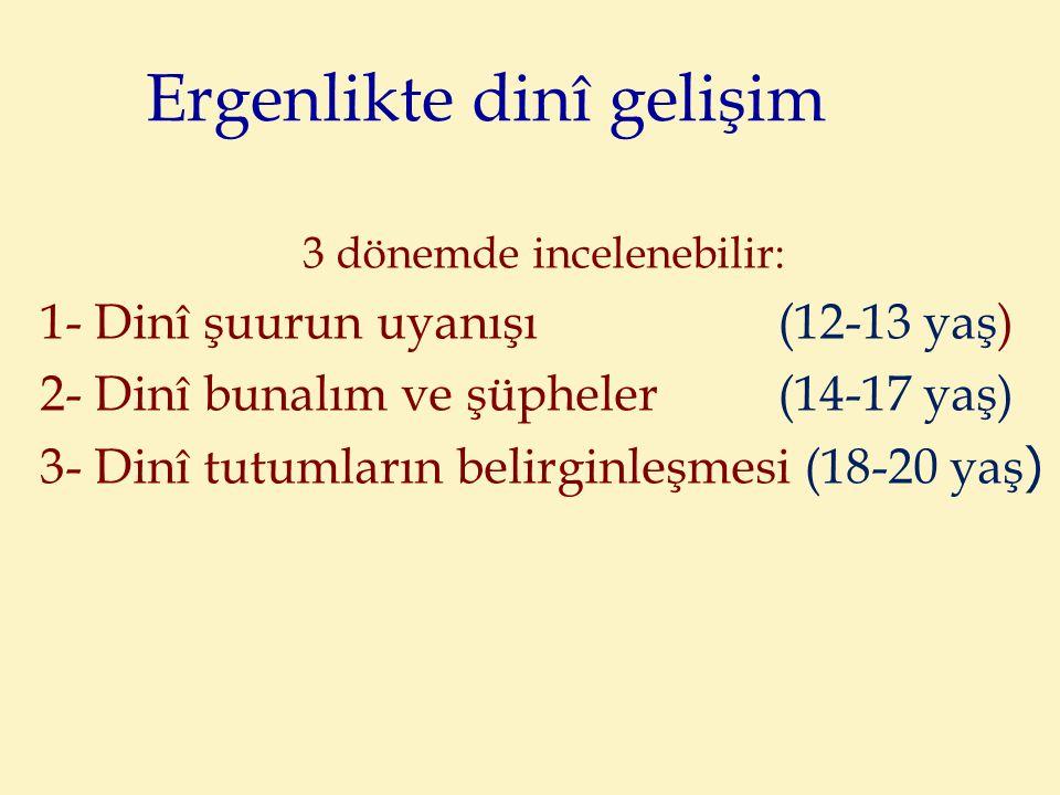 Ergenlikte dinî gelişim 3 dönemde incelenebilir: 1- Dinî şuurun uyanışı (12-13 yaş) 2- Dinî bunalım ve şüpheler (14-17 yaş) 3- Dinî tutumların belirginleşmesi (18-20 yaş )
