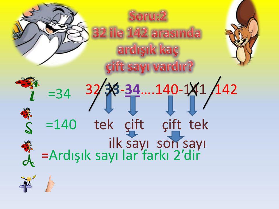 =13 =97 =Ardışık sayılar farkı 1dir